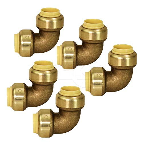 Pushlock UPE9012-5 90 Degree Elbow Pipe Fittings Push to Connect Pex Copper, CPVC, 1/2 Inch, Brass Pack of 5