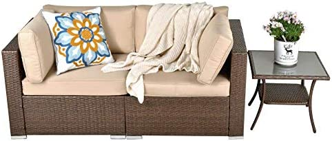 Patio Furniture Corner Sofa Set Outdoor Loveseat