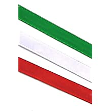 "BEEKLEY BOWS 1/4"" Narrow Christmas Satin Craft Sewing Ribbon Trim, Emerald Green/Red/White, 5 Yards Each"