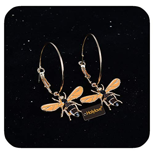 Gold Hoop Earrings Cute Bees Dangle for Women Wedding Party Daily Fashion Accessories 1 Pair with Gift Box - E40 Gold