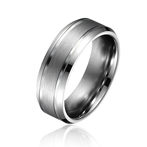 Will Queen 8mm Matte Center Beveled Tungsten Carbide Rings Comfort Fit Tungsten Wedding Bands Unique Promise Engagement Anniversary Ring for Couples - Centre Queens