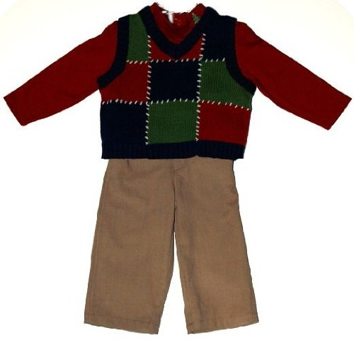 BT Kids Box Sweater Vest With Red Turtleneck And Khaki Corduroy Pants