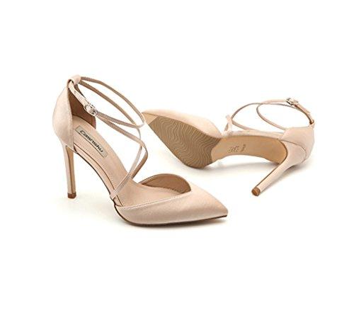 Ladies Zapatos Color altos Satén Shoes Tamaño Dream Beige Sexy en punta de 38 cuero Zapatos Tacones Tobillo Elegante d6Pt0xwq