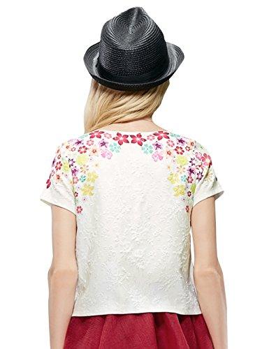Elf Sack Womens' Summer T-shirt 3D Flowers Print Small Size White