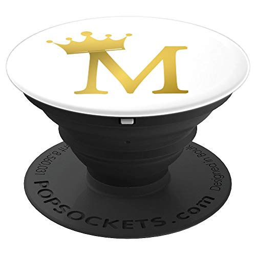 - Crown, Gold Letter M Initial Monogram, White - PopSockets Grip and Stand for Phones and Tablets