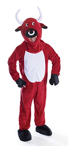 Bristol Novelty AC845 Bull Big Head Costume, Red, 44-Inch Male Chest UK 10-14 Female Size]()