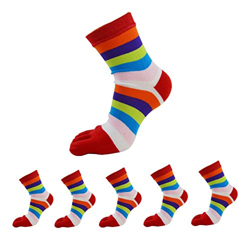 6 Pack Women Cute Five Finger Toes Socks Wicking Warm Striped Cotton Athletic ()