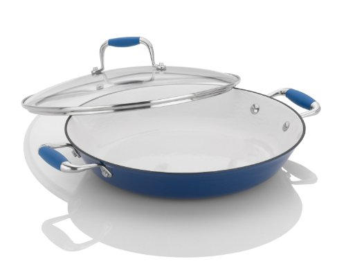 Paella Pan With Lid (Fagor Michelle B. 12-Inch Cast Iron Lite Chef's Pan with Glass Lid, Blue)