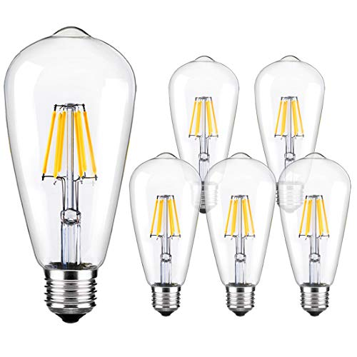 LED Edison Bulb Dimmable Vintage Style Light Bulbs 6W 6000K Bright Daylight White E26/E27 Base 6-Pack Antique Bulb by LUXON