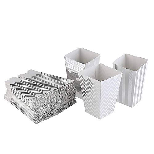 Gift Box Open (Silver Popcorn Boxes Cardboard Candy Party Favor Boxes Container,Open-Top Paper Popcorn Boxes For Birthday, Bridal Baby Shower,Carnival/Movie/Fiesta,Dessert Tables Wedding Party Supplies,36pcs)