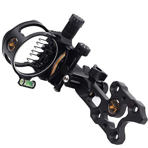 Ace Hunter 7 Pins Compound Bow Sight 0.019 Optical Fiber Retinal Sight 16cm CNC Aluminum Horizontal Vertical Adjustment Bow Sight Shooting