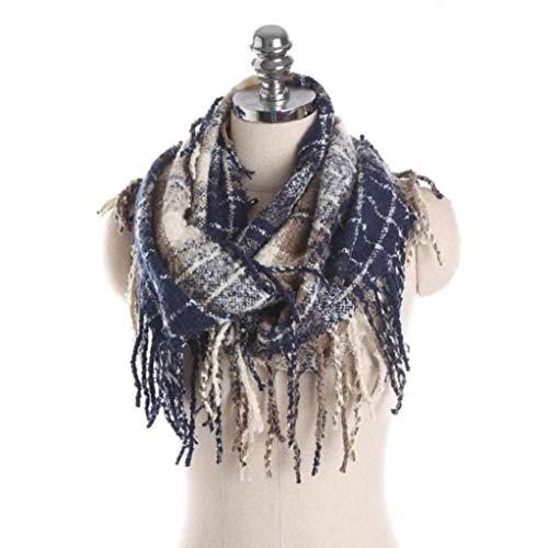 Women Warm Tassel Plaid Long Wool Shawl Soft Neck Scarf