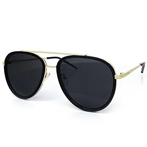 O2 Eyewear 66449 Premium Aviator Vintage Hippie Retro Womens Mens Sunglasses (BLACK LENS, GOLD-frame) (Sonnenbrille Aviator Schwarz)