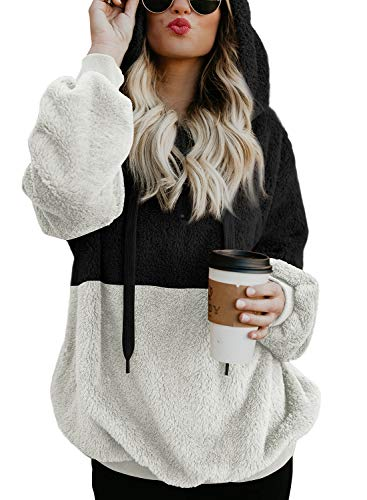 BLENCOT Womens Cute Hooded Sweatshirt Color Block 1/4 Zip Warm Thick Fuzzy Hoodies Pullover Sweater Soft Outwear Coat Tops Black White Large