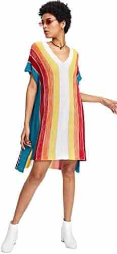 d48a04b4610a Romwe Women's Short Sleeve Top Loose Fit Striped Color Block Rainbow Print  Step Hem Dress