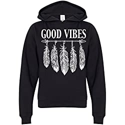 Good Vibes White Feather Premium Youth Sweatshirt Hoodie - Black Large