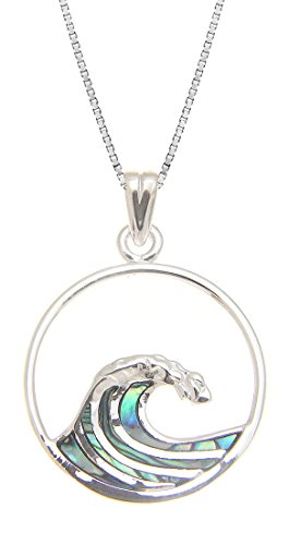 Sterling Silver Wave Pendant - 925 Sterling Silver w/ Abalone Shell Inlay Wave Pendant(M) with 18