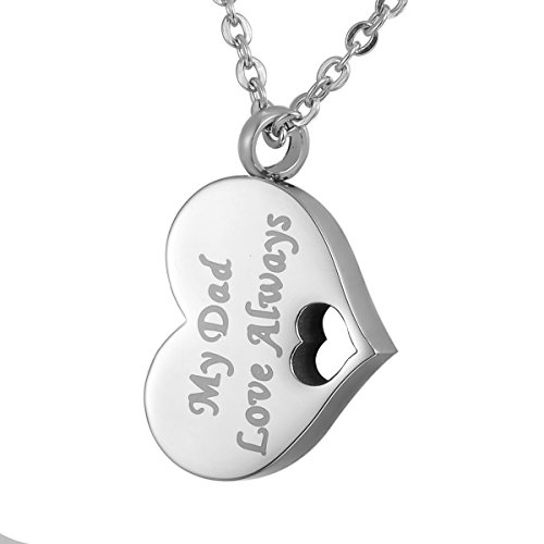 HOUSWEETY Keepsake Necklace Urn Pendant Stainless Memorial