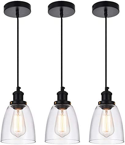Cuaulans 3 Pack Industrial Mini Pendant Lighting, Clear Glass Shade Pendant Light Fixture, Adjustable Vintage Edison Farmhouse Hanging Light for Kitchen Island Dining Room Coffee Bar, Black