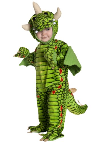 Underwraps Kid's Toddler Adorable Dragon Costume, Large Childrens Costume, Green, (Dragon Costumes For Children)