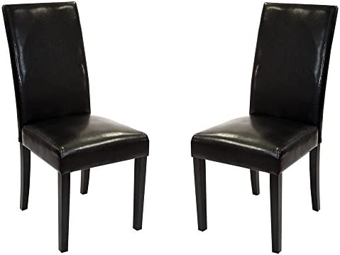 Armen Living High Back Leather Dining Chair, Black Leather, Set of 2