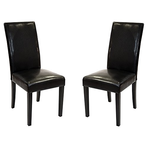 Armen Living LCMD014SIBL . Dining Chair Set of 2 in Black Bonded Leather and Black Wood Finish