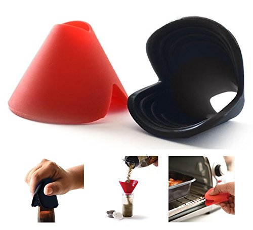 Push Pull Oven Racks - Norpro 3-in-1 Silicone Pinch Grips Set of 2 - Bottle Opener, Oven Rack Push / Pull & Mini Funnel