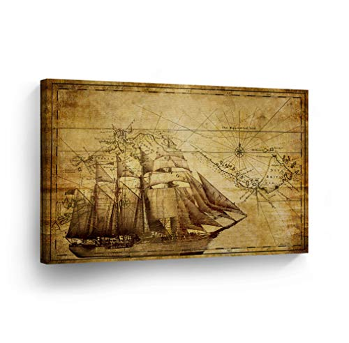 (Old World Map Vintage Sailing Map Nautical Decorative Canvas Print Antique Decorative Art Modern Wall Décor Artwork Living Room Office Framed- Ready to Hang -%100 Handmade in The USA - 11x17)