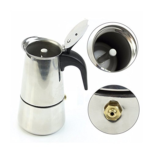 MAYMII 2 Cup/100ml Stainless Steel Moka Espresso Latte Percolator Stove Top Coffee Maker ()