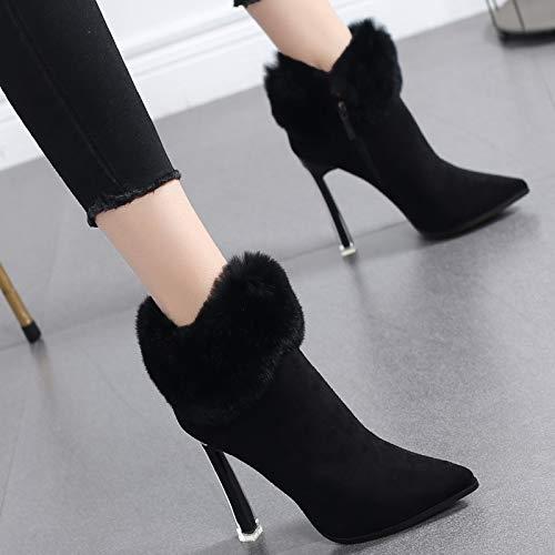 HRCxue Pumps Martin Stiefel Baumwolle Schuhe Frauen Plus Samt High Heel Damen Stiefeletten Stiletto Spitzen nackte Stiefel 34 schwarz
