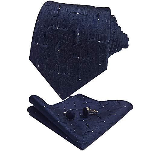 CANGRON Men Classic Navy Blue Dots Tie Set Necktie with Pocket Square Cufflinks +Giftbox LSG8ZQ