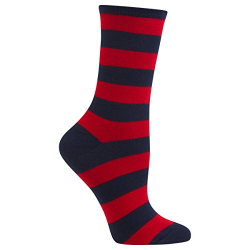 Hot Sox Women's Originals Fashion Crew Socks, College Rugby Stripe (Navy/Red), Shoe Size 4-10/Sock Size 9-11 (Womens Navy Rugby)