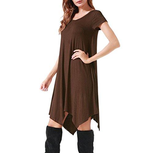 ZIYOU Damen Kurzarm T-Shirt Knielang Kleid, Frauen Elegant Rundhals Bluse  Kleid Festlich Asymmetrisches 4315769063