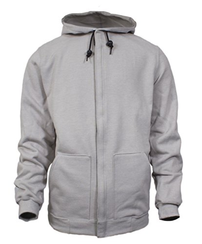 National Safety Apparel C21IG05XL 14 oz Flame Resistant Modacrylic Blend Fleece Hooded Sweatshirt with Plastic Vislon Zipper, X-Large, Gray by National Safety Apparel Inc
