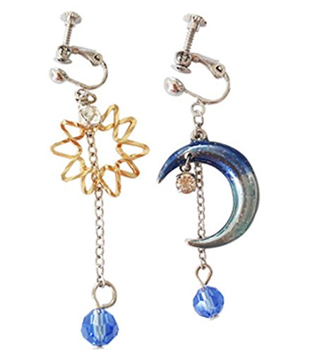 arring Clip for No Piercing Drop Dangle Colorful Moon Star Tassel Silver-tone Girl ()