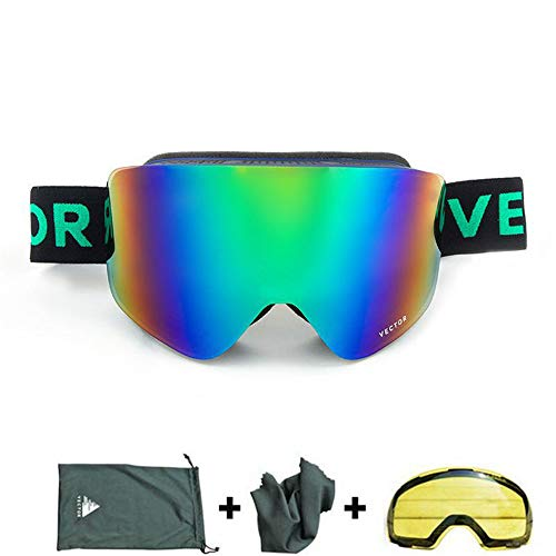 Makvio Ski Goggles Double Lens UV400 Anti-Fog Women Men Snowboard Skiing Glasses Snow Eyewear with Additional Lens