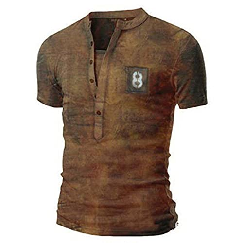 JFX V-hals T-shirt heren polyester losse korte mouwen zomer retro fitness top strand