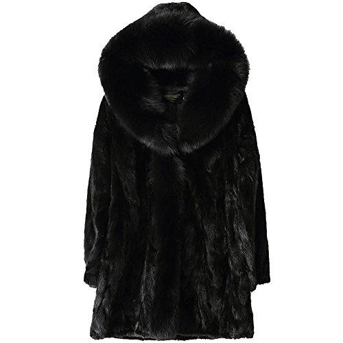 Black Mink Jacket (Jsix Women's Ladies Hooded Whole Skin Mink Fur Parka Coat Jacket Fox Fur Collar Warm Overcoat (L))