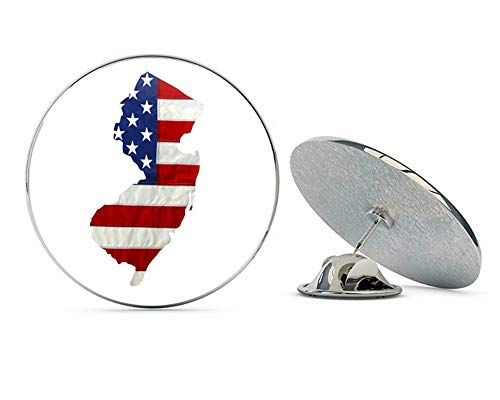(State of New Jersey Realistic American Flag Metal 0.75