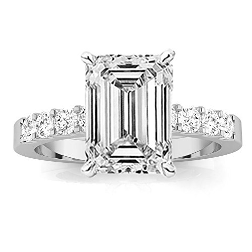 1.75 Carat GIA Certified Emerald Cut Classic Prong Set Diamond Engagement Ring with a 0.75 Ct D-E VVS1-VVS2 Center