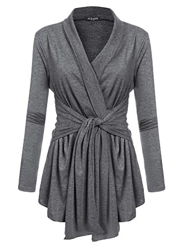 Beyove Women's Long Sleeve Travel Lightweight Cardigan Drape Soft Knit Open Front Cardigan Sweater Plus Size Dark Grey