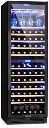 KLARSTEIN Vinovilla Grande Onyx Duo Nevera para vino, 425 L, 165 botellas de vino, puerta de cristal, iluminación interior, 2 zonas, 12 inserciones de madera, portavasos para hasta 24 vasos, negro[Clase de eficiencia energética G]
