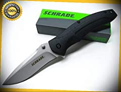 Black Straight Drop Point Large Linerlock Folding Pocket Sharp Knife SCH217L perfect for outdoor camping hunting