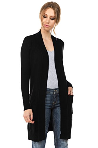 CIELO Women's Long Sleeve Sweater Duster Cardigan Black XL