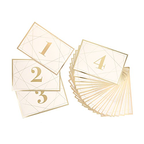Darice David Tutera Modern Geometric Gold Foil Table Number Cards, 25 Piece