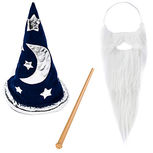 Funny Party Hats Magic Wizard Costume - Wizard Costume Hat, Beard & Wand - Wizard Costume Accessories -