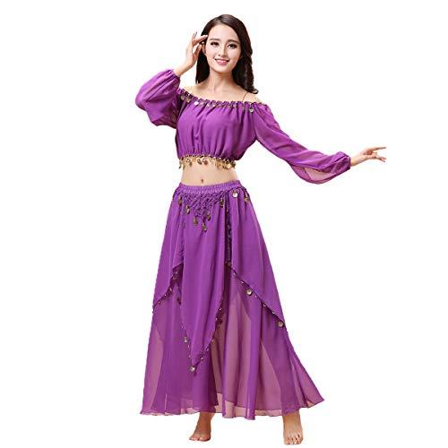 Maylong Women's Lantern Sleeve Belly Dance Skirt Halloween Costume DW60 (Purple) -