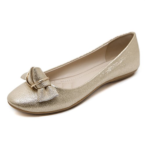 Pump Flat Classic Women's Slip Dress Toe Ballet On Bow Flat Shoes Round JINANLIPIN golden 6wP1Y