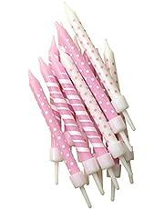 Anniversary House Pink Polka Dot & Candy Cane Stripe Cake Candles x 12