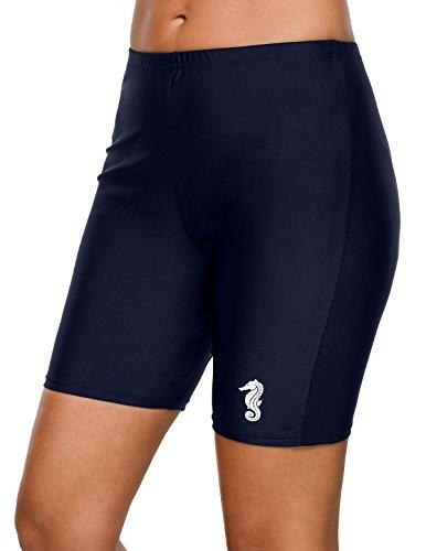 beautyin Womens Solid Boardshort High Waist Swim Short Long Jammer Workout Bottom M
